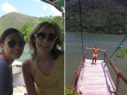 Boating on Laguna Azul; the platform I jumped off of