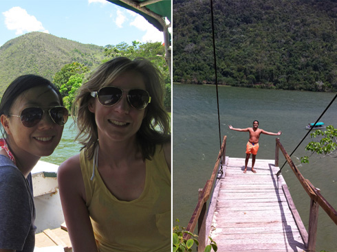 Boating on Laguna Azul; the platform I jumped off of