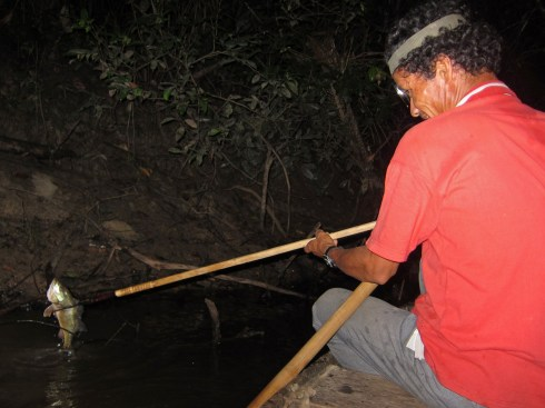 Marcial using his pica to expertly spear fish in the dark