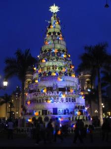 Christmas display in Lima's Plaza de Armas