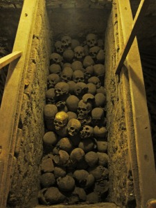 Skulls in Las Catacumbas de Iglesia San Francisco