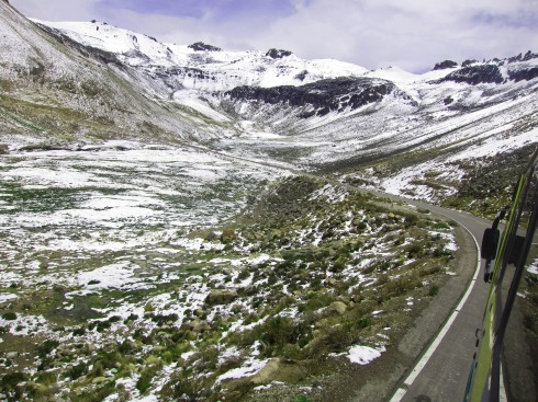 The bus ride to Cabanaconde passes through snow-covered volcanic landscape