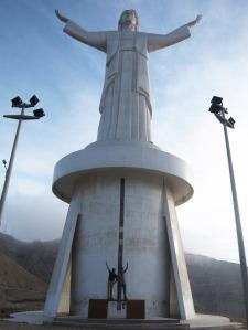 Jean and I at the Cristo del Pacifico statue in Lima